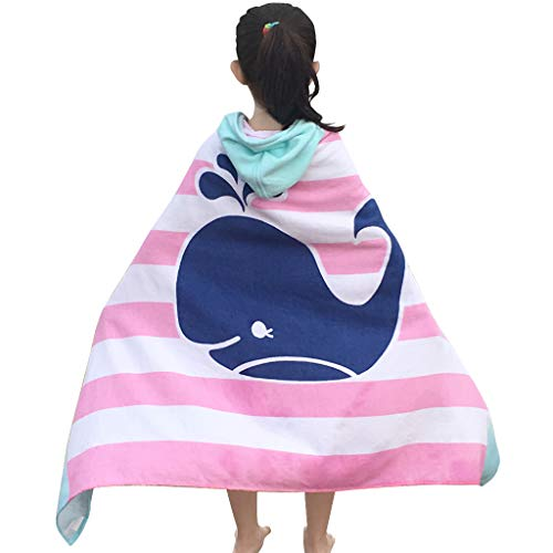 Toalla con capucha para baño y playa para niños 76 cm * 127 cm, absorbente suave, 100% algodón, tiburón y ballena, niños niñas nadar encubrir
