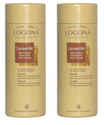 LOGONA Lot de 2 poudres de lave 1 kg pour un nettoyage en douceur de la peau et des cheveux