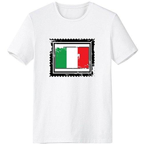 DIYthinker Italia Bandera Nacional Europa País Símbolo Marcos Escote De Patrón Ilustración La Camiseta Blanca De Primavera Y Verano De Tagless La Comodidad del Algodón Se Divierte Las Camisetas