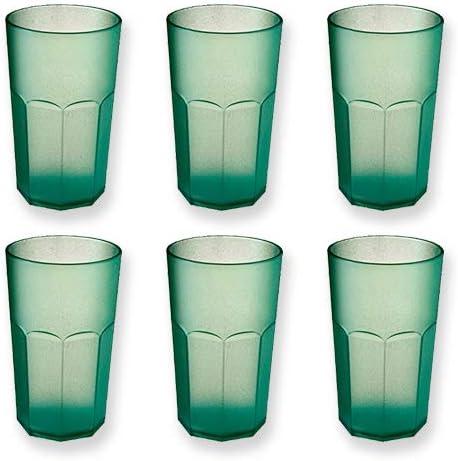 cartaffini–Vaso Cóctel de policarbonato–Juego 6pezzi. Capacidad 48cl, diseño octogonal–Color: Verde