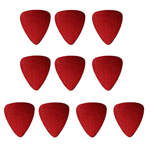 styleinside 10 PCS Selecciones De Guitarra De Fieltro De Lana, Ukulele Special Felt Picks Red
