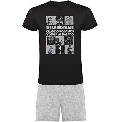 Pijama Hombre Volver al Pasado de Camiseta y Pantalon Corto Ropa Dormir Comoda de Algodon (L)