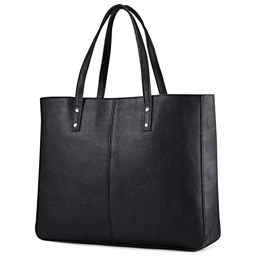 Kattee Leather Purses and Handbags for Women Vintage Tote Bags Work Purse Shoulder Bag - Black