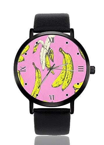 PALFREY Banana en rosa Relojes de pulsera de negocios Casual Sport Reloj de cuarzo para mujeres hombres impermeable unisex