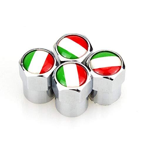 SUJIE Autoreifen Ventilkappen 4 X Italienische Flagge Logo Metall-Rad-Reifen Ventilkappen Abdeckungen Auto...