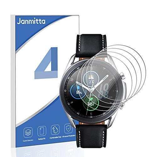 Janmitta für Samsung Galaxy Watch 3 45mm Panzerglas Schutzfolie [4-Stück], 9H Panzerfolie HD Gehärtetem Glass [Anti-Kratzen][Anti-Bläschen] Displayschutzfolie