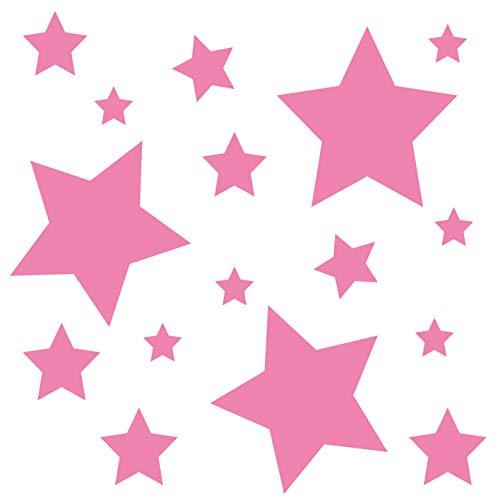 kleb-Drauf® | 18 Sterne | Rosa - matt | Wandtattoo Wandaufkleber Wandsticker Aufkleber Sticker | Wohnzimmer Schlafzimmer Kinderzimmer Küche Bad | Deko Wände Glas Fenster Tür Fliese