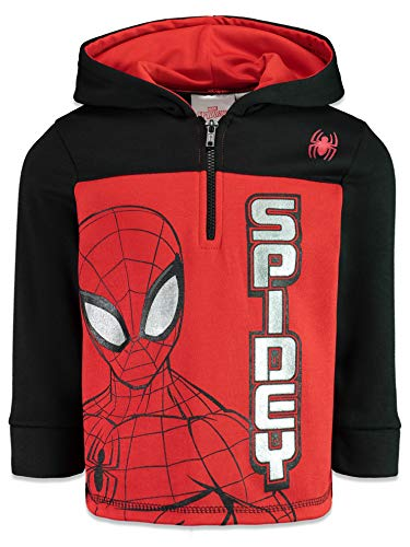 Marvel Spiderman Big Boys Fleece Half-Zip Pullover Hoodie Red/Black 12