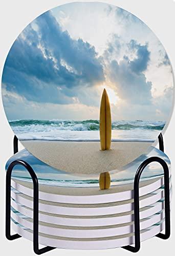 CIKYOWAY Posavasos para Bebidas,Tabla de Surf Ocean Beach Juego de 6 Posavasos absorbentes con Soporte de Metal/Fondo de Corcho,para Casa Restaurante Y Bar