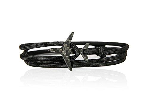 EIGHT8R Aircraft Jet Carbon Parachute Cord Bracelet For Men (Black)