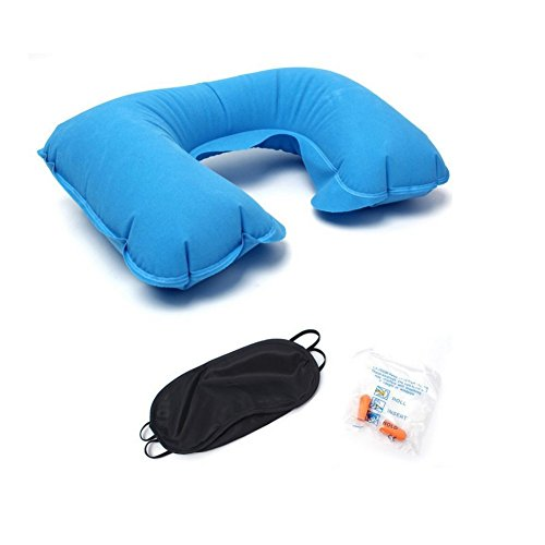 Ndier - Almohada hinchable de cuello de viaje, almohada en forma de U con tapones para orejas y máscara para los ojos en viajes, avión y camping (azul)