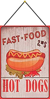 Generisch Cartel de Chapa 20 x 30 cm arqueado con cordón Fastfood Hot Dogs Imbiss Decoración Regalo Cartel Tin Sign