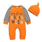 LIEIKIC Conjunto de ropa para bebé y niño, de manga larga, body y gorro, para recién nacidos, suave y cálido, Naranja#01, 100 cm