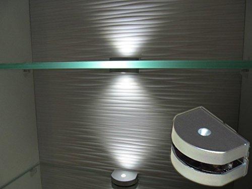 LED Glaskantenbeleuchtung / 2-er Komplettset / Art. 2296-2 / Glasbodenbeleuchtung / Clip / Lichtfarbe kalt weiß / Vitrinenbeleuchtung / Glasplattenbeleuchtung