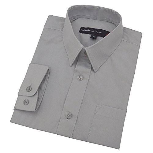 Johnnie Lene Baby Boy's Long Sleeves Solid Dress Shirt #JL32 (24 Months, Silver)