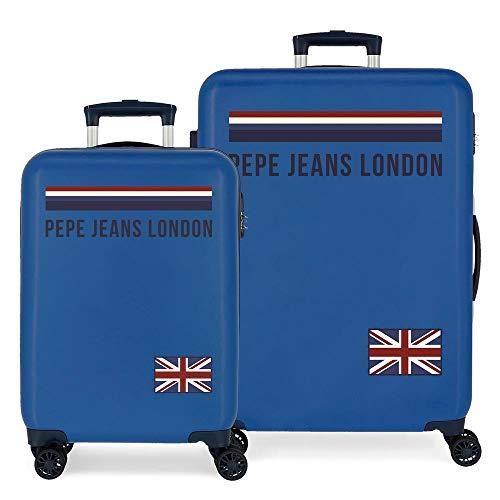 Pepe Jeans Overlap Juego de maletas Azul 55/68 cms Rígida ABS Cierre combinación 104L 4 Ruedas dobles Equipaje de Mano