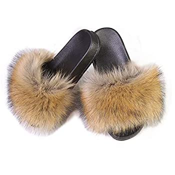 LSWJS Women s Vegan Faux Fur Slippers Fuzzy Slides Fluffy Sandals Open Toe Indoor Outdoor  7 Yellow-1