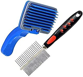 RvPaws 2 in 1 Pet Comb Pack Adjustable Dog/Puppy/Kitten/Cat Brush/Pet Comb for Grooming Cum Massager and Safety from Mite...