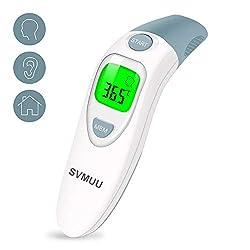 SVMUU Fieberthermometer Stirnthermometer Ohrthermometer, Infrarot Thermometer für Babys, Erwachsene und Objekte,1 Sekunde Messzeit, Speicherfunktion, Hochtemperaturalarm