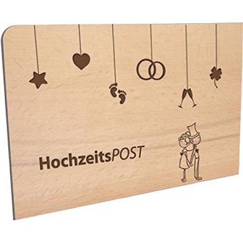 Ansichtkaart van hout - bruiloftspost