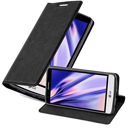Cadorabo Hülle für LG G3 Mini / G3 S in Nacht SCHWARZ - Handyhülle mit Magnetverschluss, Standfunktion & Kartenfach - Hülle Cover Schutzhülle Etui Tasche Book Klapp Style