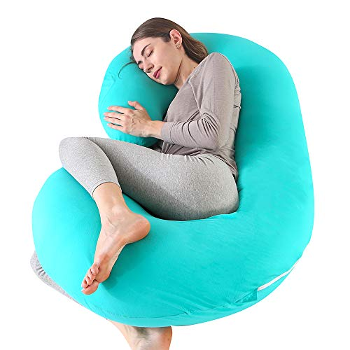 CDEN Pregnancy Pillow, C Shaped Full Body Pillow 52', Maternity Pillow Support for Back, Legs, Neck, Hips for Pregnant Women with Removable Washable Jersey Cover(Lakeblue)