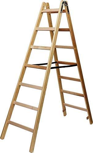 Brennenstuhl Holz-Stehleiter 2x8 Sprossen (Holzleiter, 2,11 m hoch, max. 150 kg belastbar)