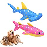 Dog Floating Water Toys for Summer Pool, 2 Pack Durable Cute Shark Dog Squeaky Chew Toy, Interactive Float Pet Toy for Small Medium Large Dogs Playing Games