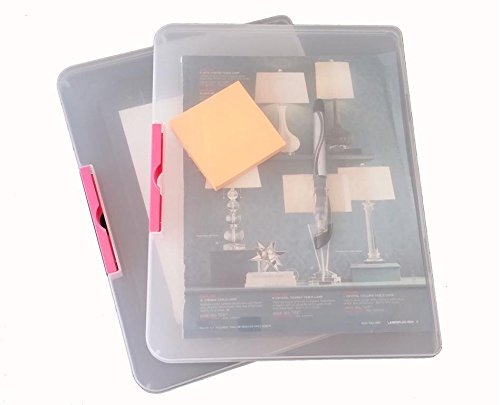 2 Pack Clear Plastic Document Cases File Holders, desk paper organizers, project container (Clear/Pink Plus)