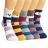 SUNWIND Süße Cartoon Damen Socken 5 Paar,Bunte Socken Damen Neuheit Baumwolle Lustige Tier Nahtlose Socken für Frauen & Mädchen(Tier und Schal)