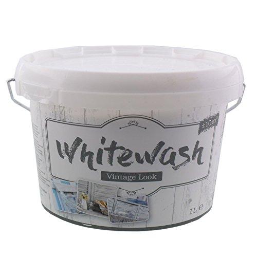 WSD Warenhandel Kreidefarbe für Holz und Möbel Vintage Shabby Chic Antiklook White wash - Weiss 1 Liter