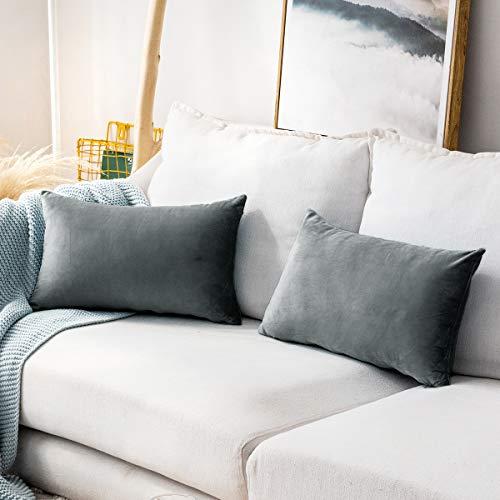 MUDILY Pack of 2 Soft Velvet Soild Decorative Lumbar Oblong Throw Pillow Covers Cushion Case Pillowcases for Sofa Chair Bedroom Car, Grey 12 x 20 Inch 30 x 50 cm