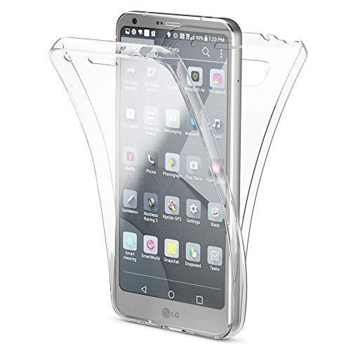 NALIA Funda 360 Grados Compatible con LG G6, Delantera Trasera Protectora Movil Silicona Carcasa, Ultra-Fina Gel Transparente Doble Cubierta Goma Bumper Cover Smart-Phone Case, Color:Transparente