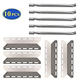 BBQ-Element Grill Replacement Parts for Charmglow 720-0234, 720-0289, Heat Plate Shields Burner Cover and Pipe Burner Tubes for Nexgrill 720-0033, 720-0234, 720-0289, Kirkland 720-0025.