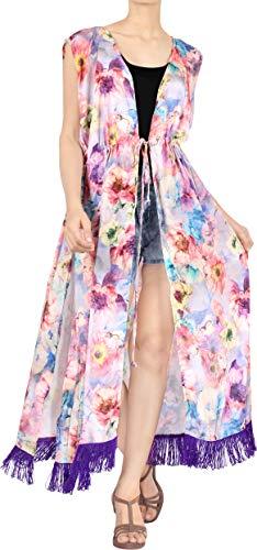 LA LEELA Mujeres Seda Praia de Encaje Largo Kimono Cardigan Ganchillo de La Vendimia Borlas Mini Vestido Exóticas Protector Solar Ropa de Playa Violeta_X676