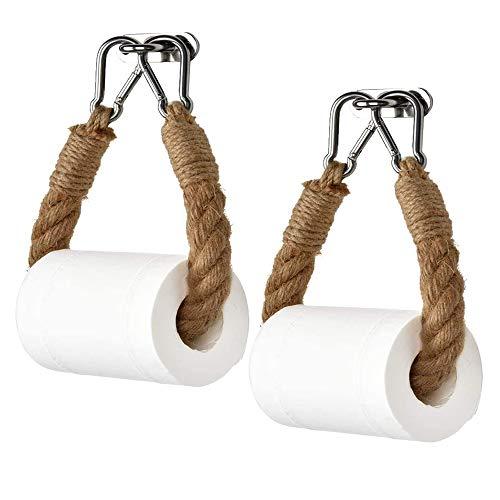Gobesty Toilettenpapierhalter, 2 Stuck Retro-Wand-Halterung Hanf Seil Toilette Papier Halter Vintage Handtuchhalter Home Hotel Badezimmer Dekor
