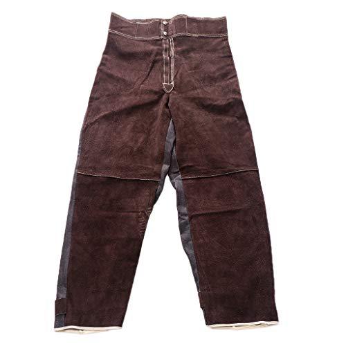 gazechimp Cowhide Leather Safety Welding Jacket & Long Pants - Protective Soldering Clothes, Heat Resistant (Multi-Choice) - Brown, Brown Pants L