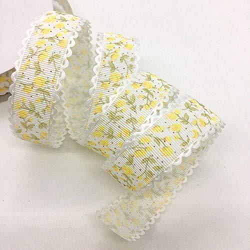 5Y 1.5 - 2.5cm Cinta en relieve con estampado de flores para manualidades hechas a mano Pascua Matrimonio Fiesta Álbum de recortes Deco Regalo Embalaje floral-China, UR97-8 (2.5cm), 5 yardas