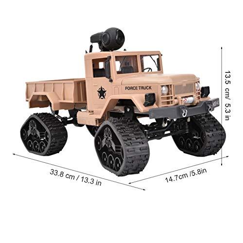 Snufeve6 Vehículo RC, Coche Modelo RC, Camión Militar RC 1/16 RC 1/16, Luces LED para Regalos Niños(Khaki Yellow, with Camera)
