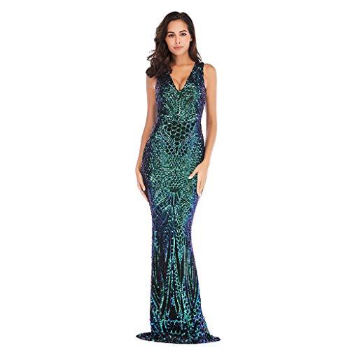 AQUYY Damen Abendkleid, Fashion Elegant Sexy V-Ausschnitt Stretch Eng Paillettenkleid Langen Rock Cocktailkleid Green XL