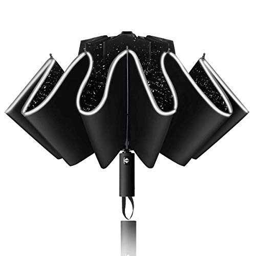Bteng Paraguas Plegable Hombre Mujer,Abrir y Cerrar Automático Paraguas Invertido Antiviento,Resistente con 10 Rods Compacto Resistente al Viento Inverso con Rayas Reflectantes Asa Ergonómica de Viaje