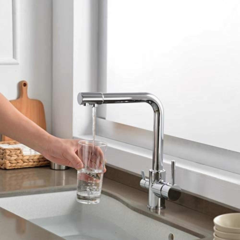 FZHLR Chrom Gebürstet Küchenarmatur High-End 360-Grad-Drehung Mit Wasseraufbereitung Eigenschaften Mit Doppeltem Griff Torneira