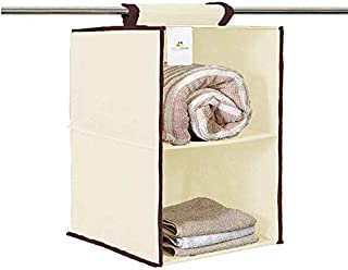 HomeStrap Hanging 2 Shelf/Compartment Clothes Storage Wardrobe Organizer - Cream