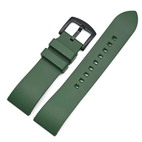 Correa Reloj Correa de Reloj de Goma 20mm 22mm 24mm Pulsera Barra de liberación rápida Barra de Reloj Correas para Relojes (Band Color : Green Black)