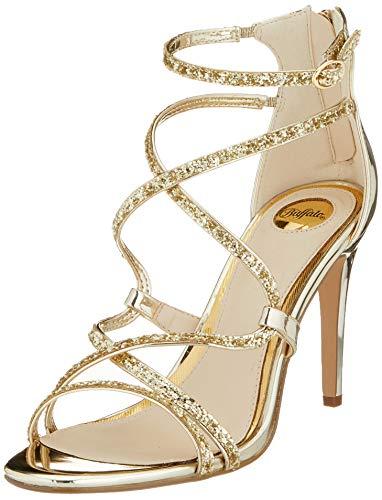 Buffalo Damen Mercy Sandale mit Absatz, Light Gold, 38 EU