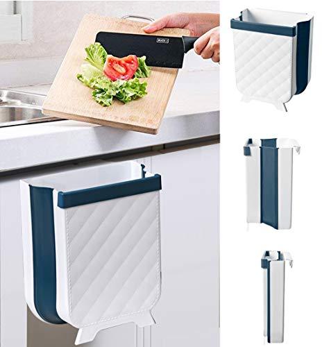 TYSO Küchen Mülleimer Hängender, Abfalleimer Küche Für Schranktür, Mülleimer für Küche/Büro/Badezimmer/Auto/Kinderwagen (Blau)