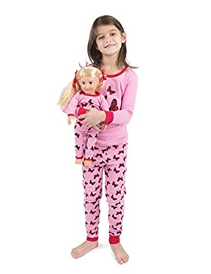 Leveret Kids Pajamas Matching Doll & Girls Pajamas 100% Cotton Pjs Set (Butterfly,Size 6 Years)