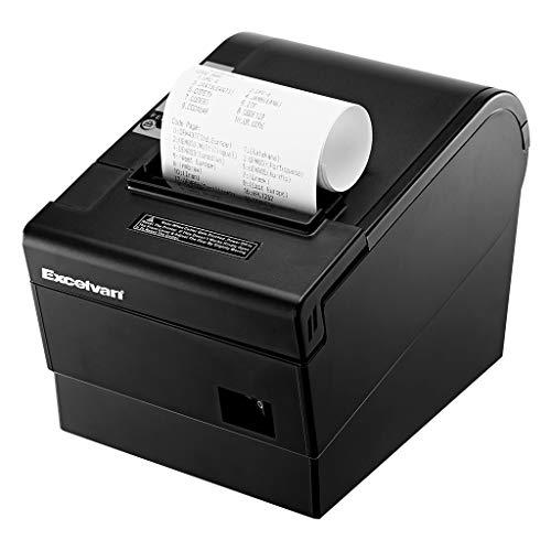 Excelvan Mini Impresora Térmica de Recibo Portátil, ticket de 80 mm, Etiqueta de Corte Automático con ESC/POS, USB Compatible con Android/ Windows/ Linux/ IOS para Restaurante/ Supermercado/ Cocina