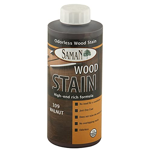 SamaN Interior Water Based Wood Stain & Natural Furniture, moldings, Wood Paneling and cabinets Stain (Walnut TEW-109-12, 12 oz)