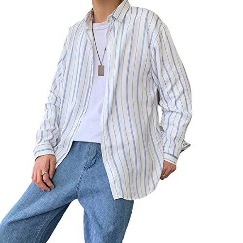 Camisa Informal de Rayas Sencillas para Hombre, Tendencia a la Moda, cómoda y versátil, Camisa de Manga Larga Relajada a Juego